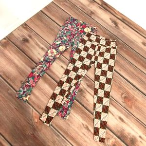 LuLaRoe pair of leggings floral checkered one size